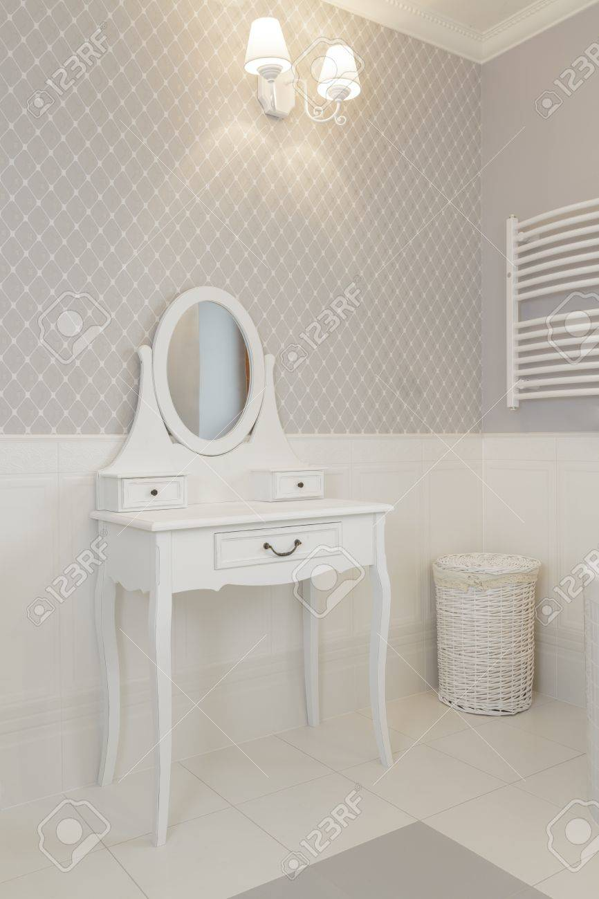 Tuscany - white dressing table in bathroom Stock Photo - 21122275
