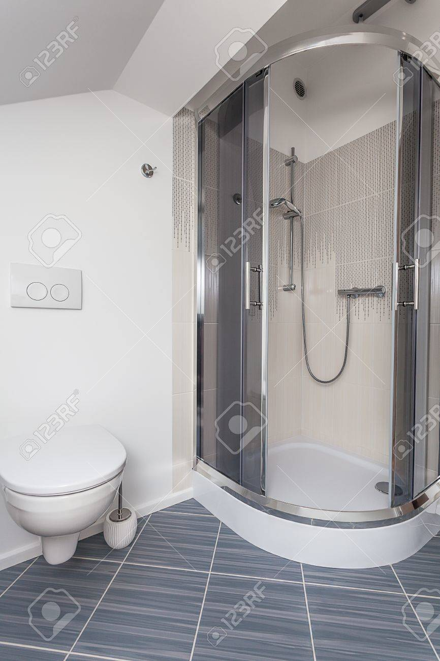 Bright space - a rest room with a shower and a toilet bowl Stock Photo - 21132038