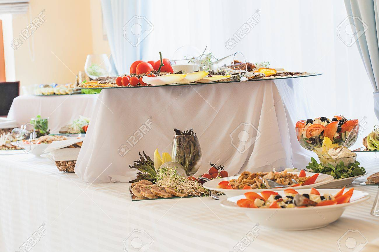 Cold appetizers on an elegant table, reception Stock Photo - 21299021