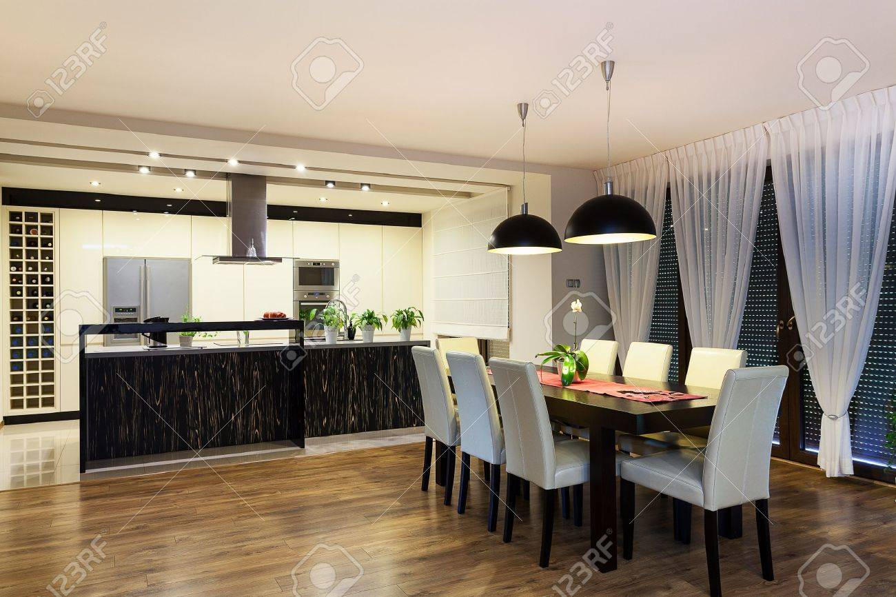 Urban apartment - Black and white kitchen and living room Stock Photo - 21575550
