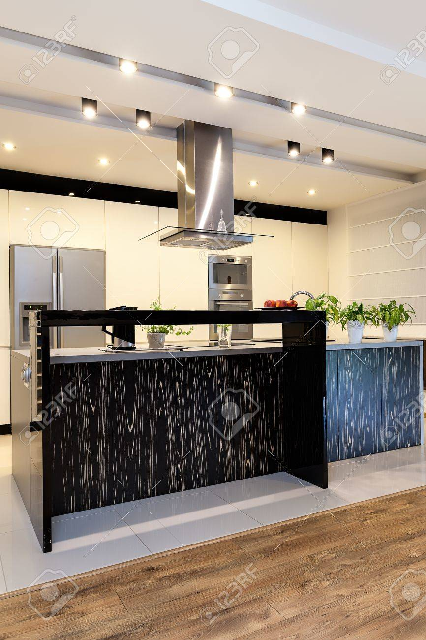 Urban apartment - Black counter with bright pattern Stock Photo - 21575552