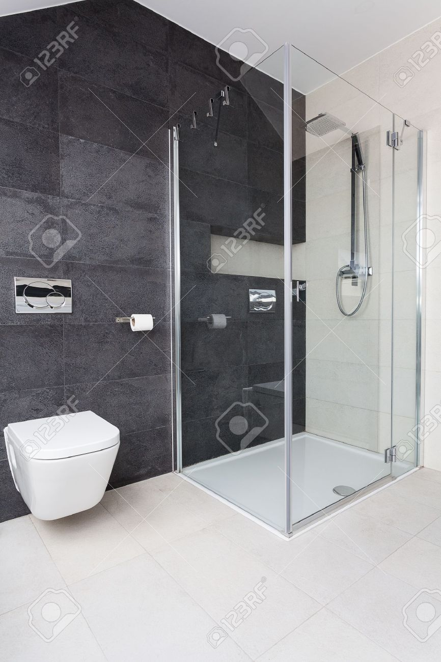 Urban Apartment - Modern Glass Shower In Bathroom Stock Photo ...