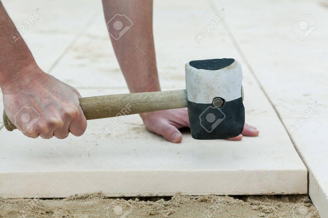 Montage of a concrete slab on terrace floor Stock Photo - 21822482