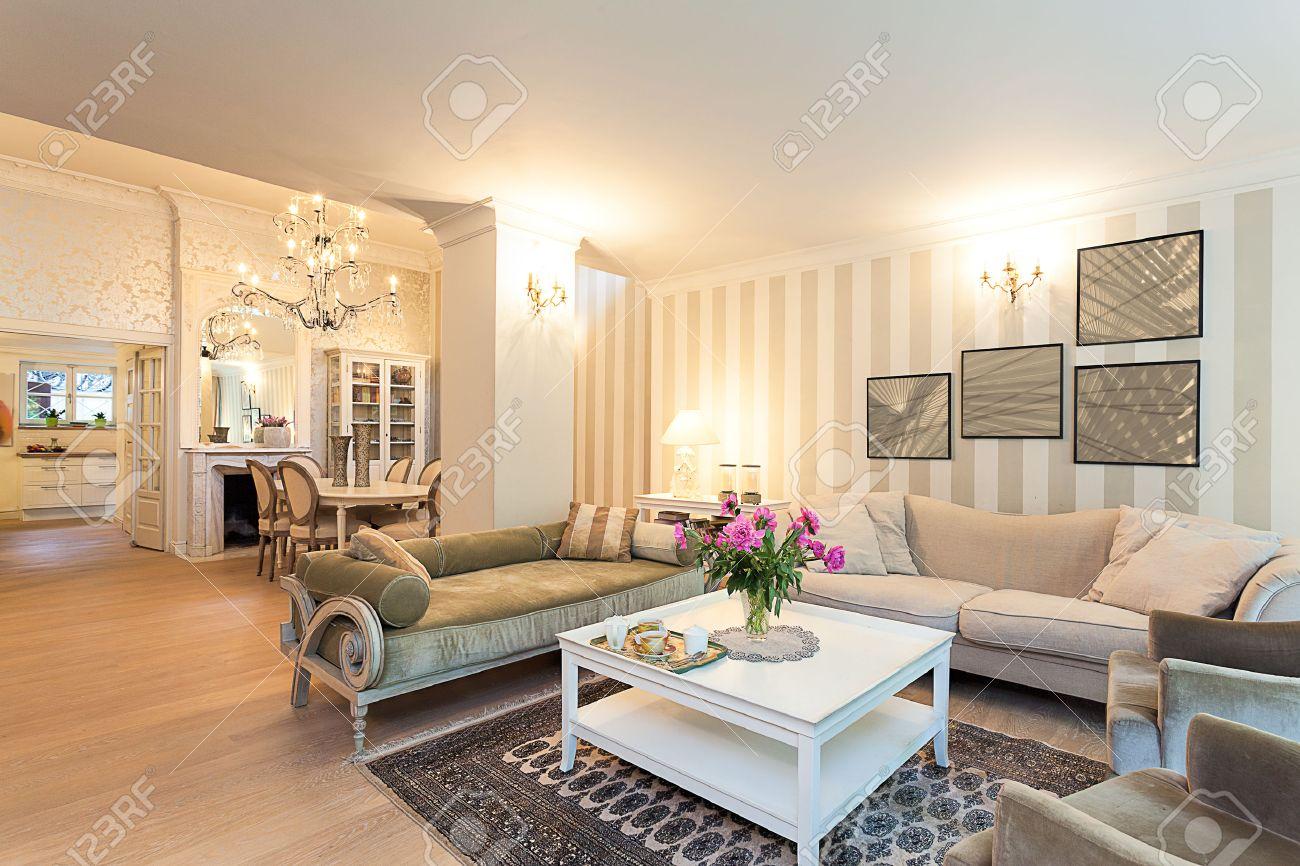 Vintage mansion - a stylish ground floor apartment in beige Stock Photo - 22192137
