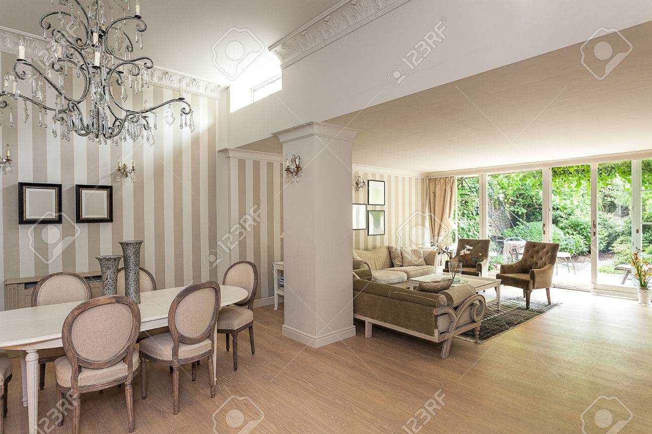 Vintage Mansion An Elegant Beige Interior With A Living And