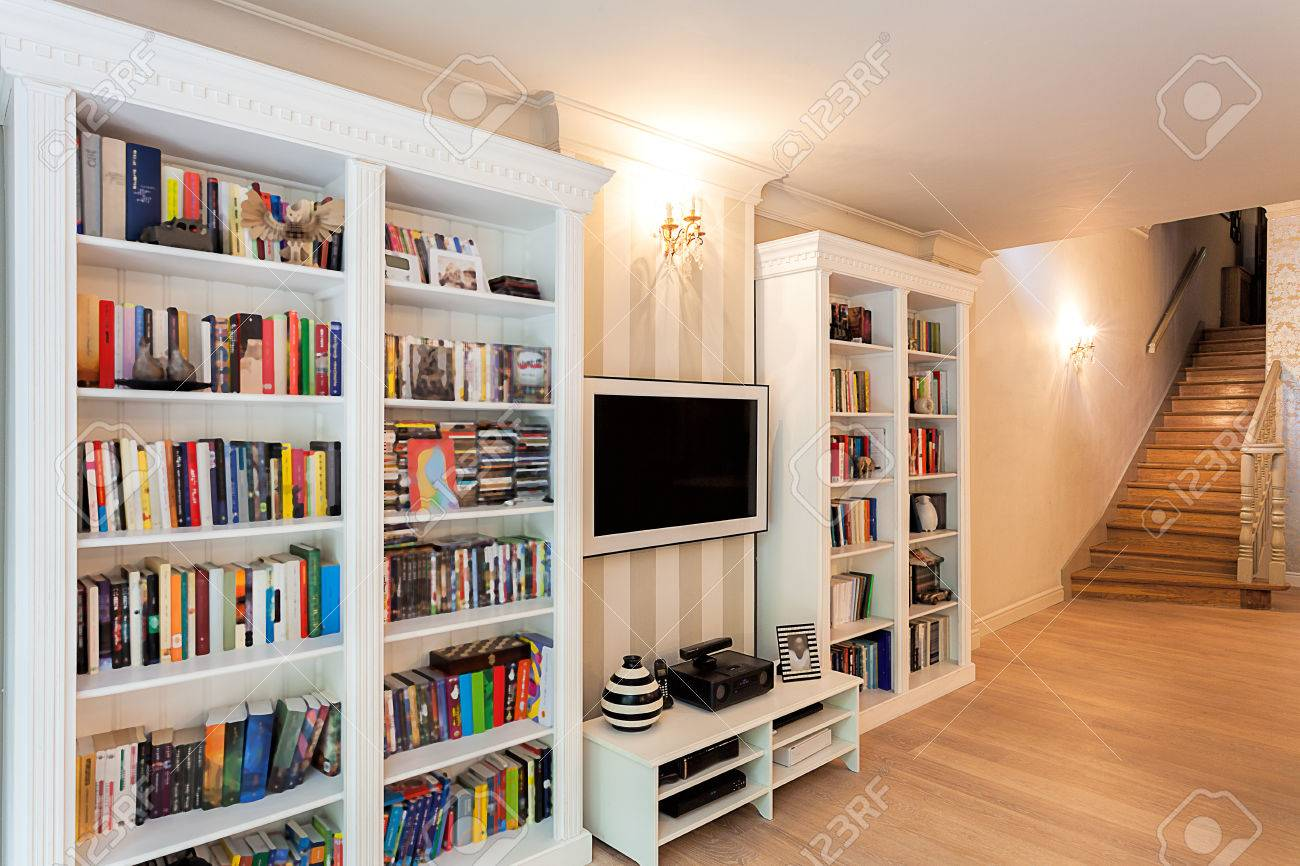 Vintage mansion - a striped wall with bookshelves Stock Photo - 22343719