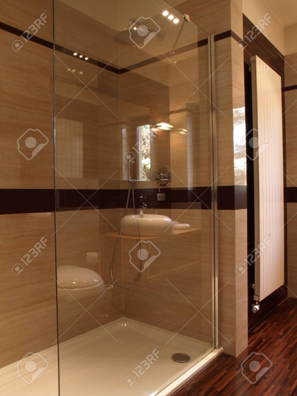 Modern Glass Shower In A Luxury House Stock Photo, Picture And ...