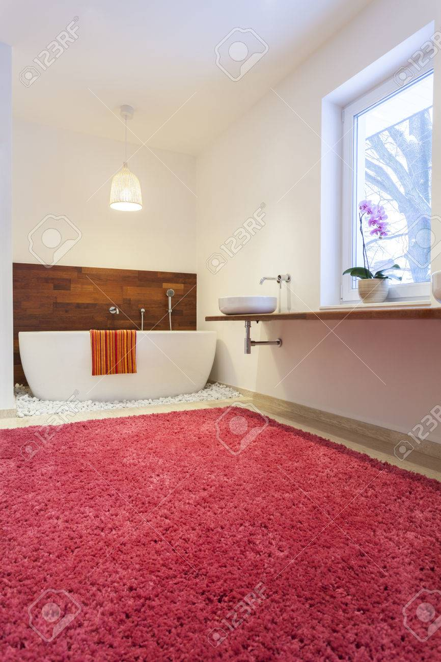 Bathroom With A Huge Pink Carpet Stock Photo   22795049