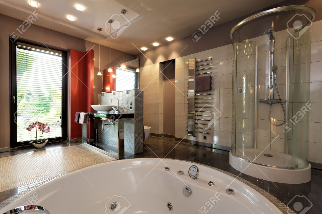 Luxury Bathroom With Bath And Glass Shower Stock Photo, Picture And ...