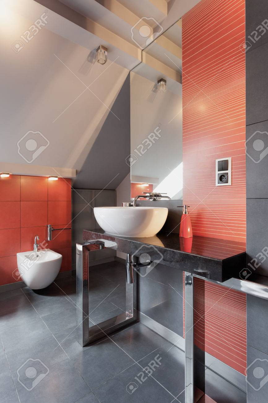 White vessel sink in red and grey bathroom Stock Photo - 23033910