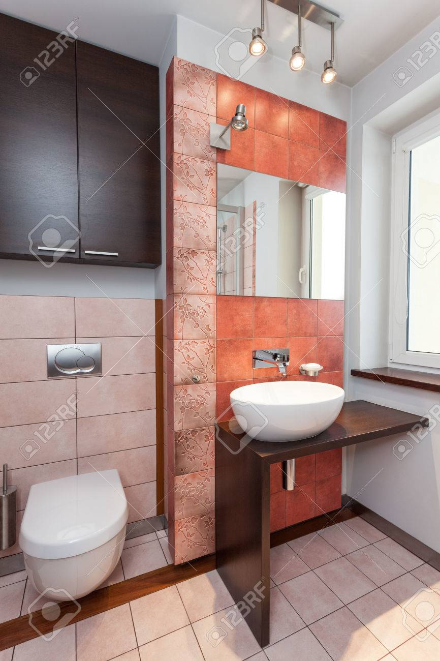 Spacious apartment - Interior of modern bathroom with vessel sink Stock Photo - 23699295