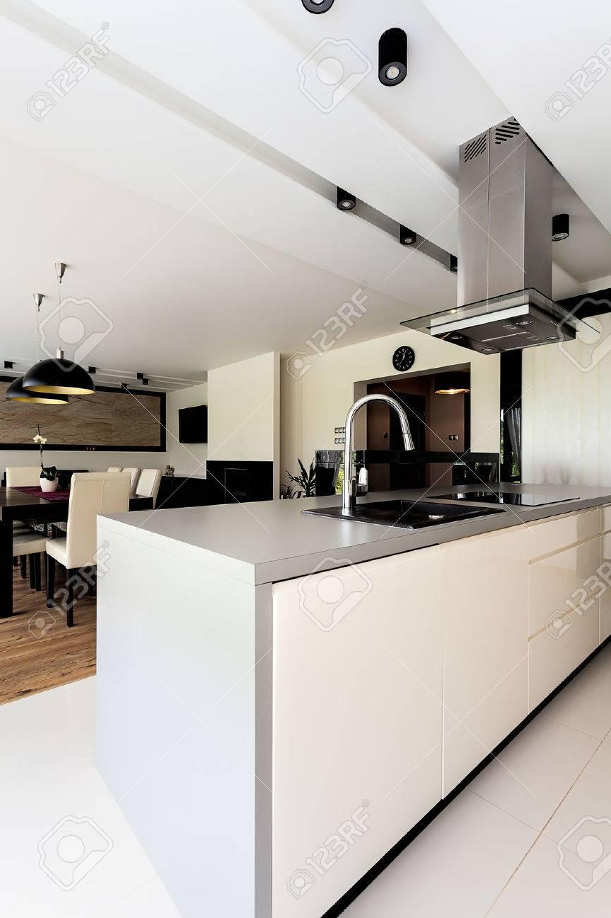 Urban Apartment - White Kitchen Furniture, Close Up Stock Photo ...