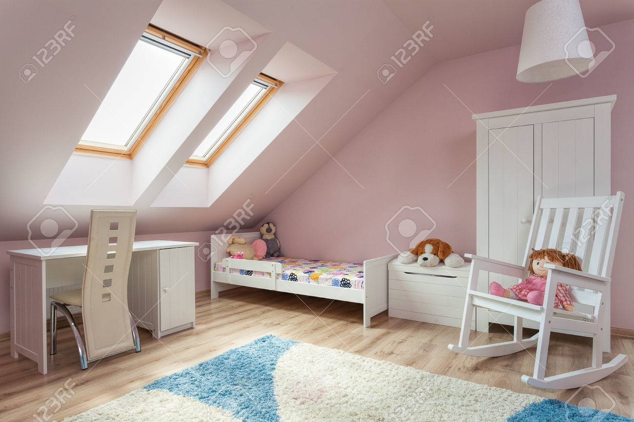 Urban apartment - cute girl\'s room with white furniture
