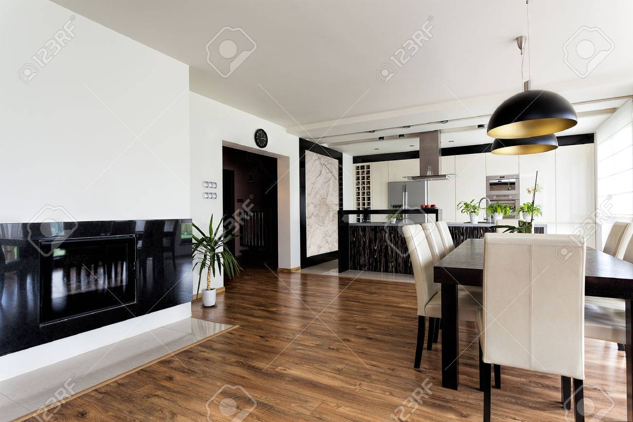 Urban apartment - contemporary interior in black and white Stock Photo - 24398792