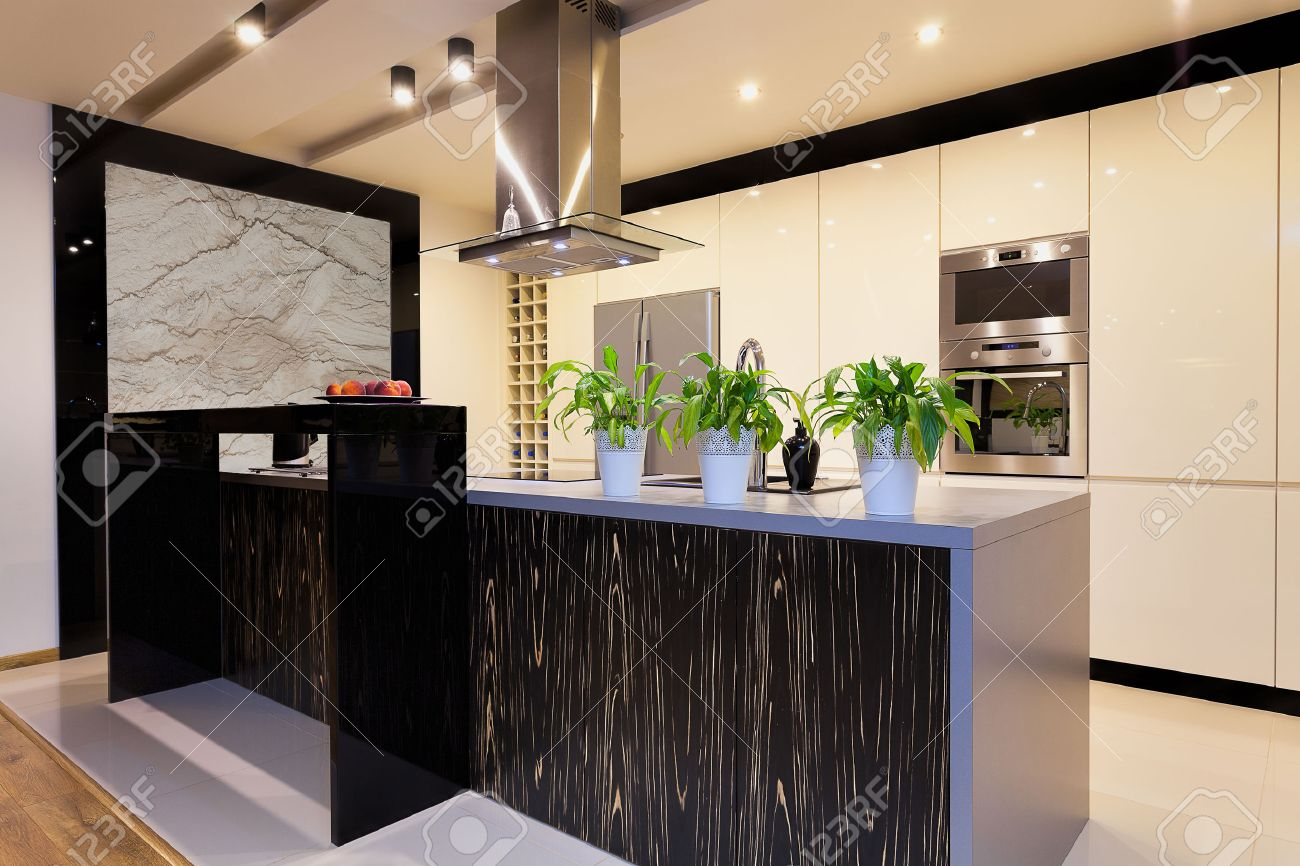 Urban Apartment   Kitchen Furniture With Black Bar Counter Stock Photo    24398794