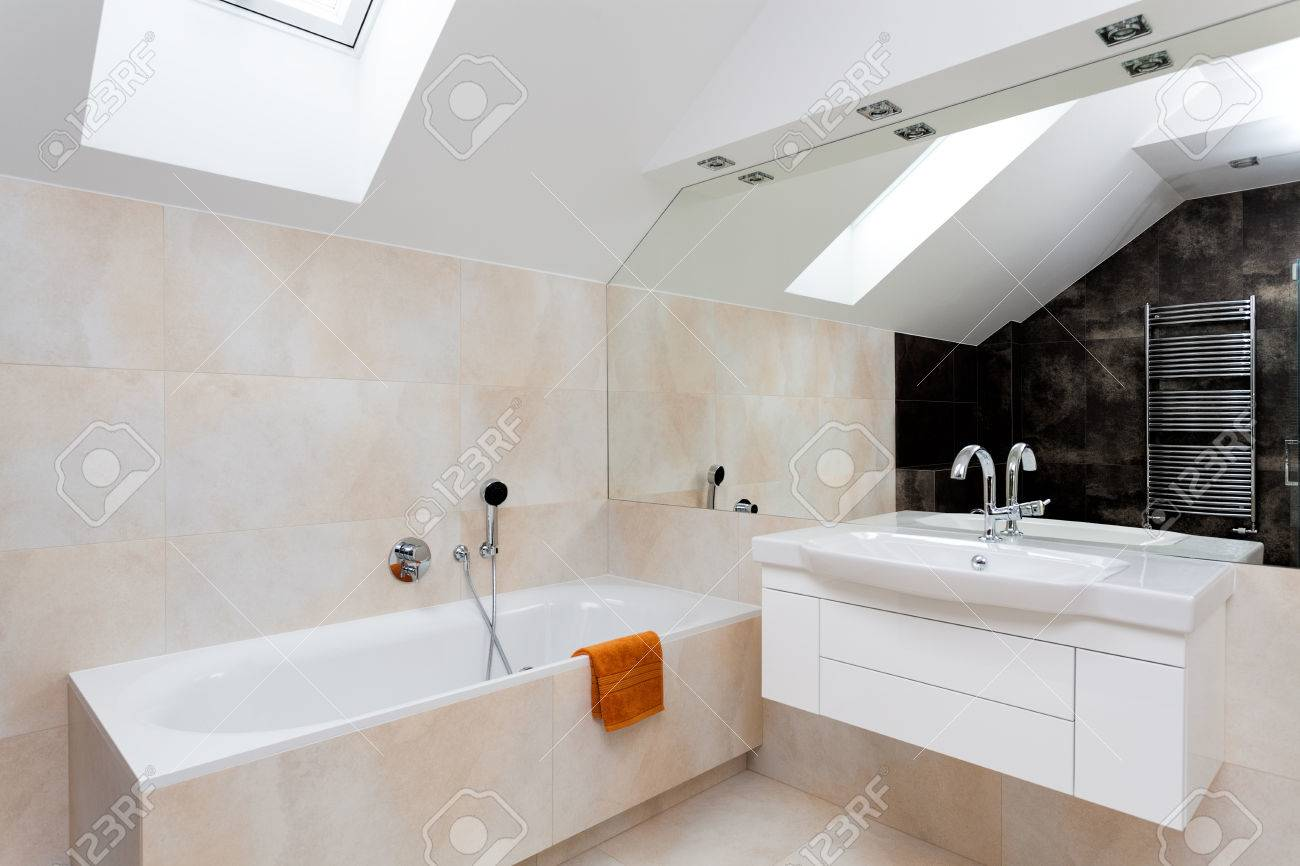 Bathroom With Huge Mirror, Bath And White Sink Stock Photo, Picture ...
