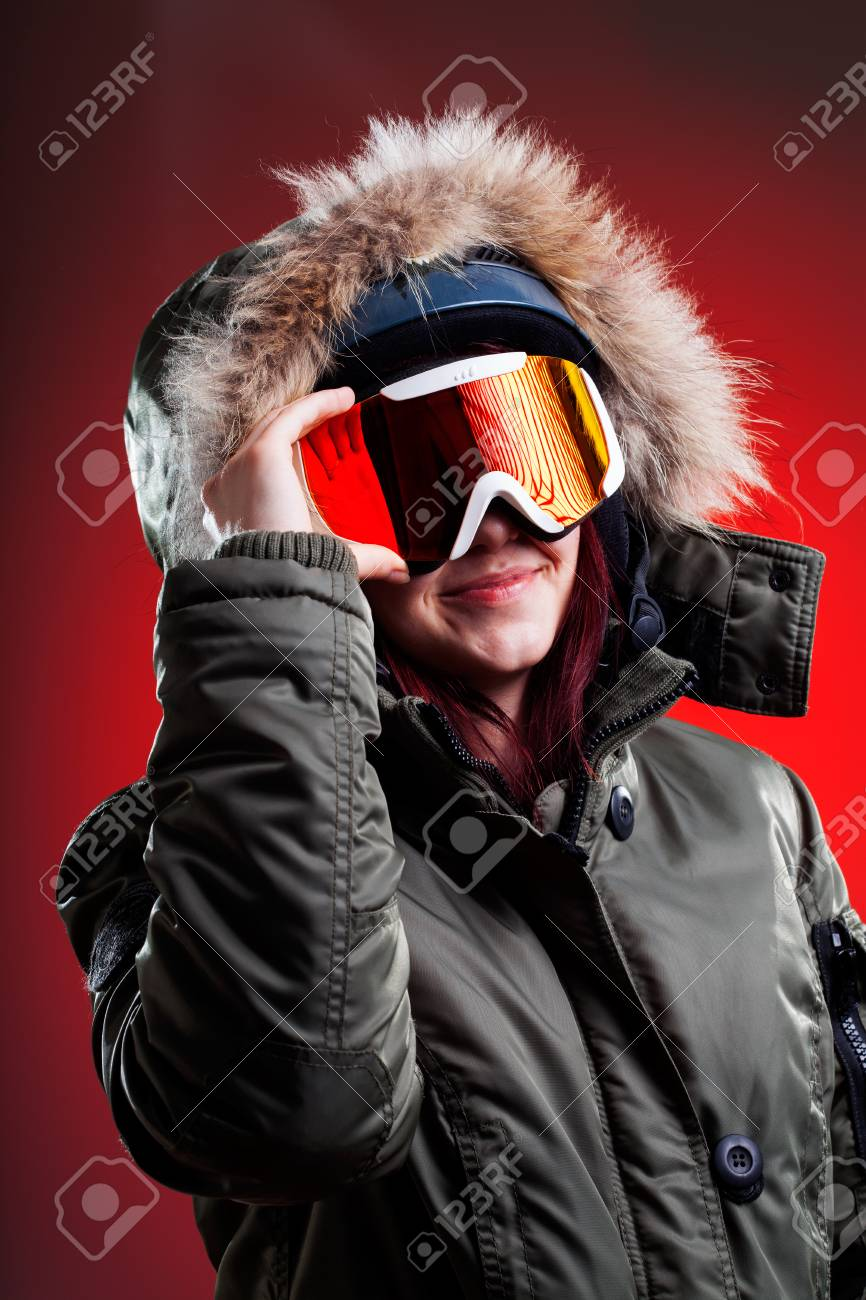 Young girl in sport ski clothes and equipment Stock Photo - 25624880