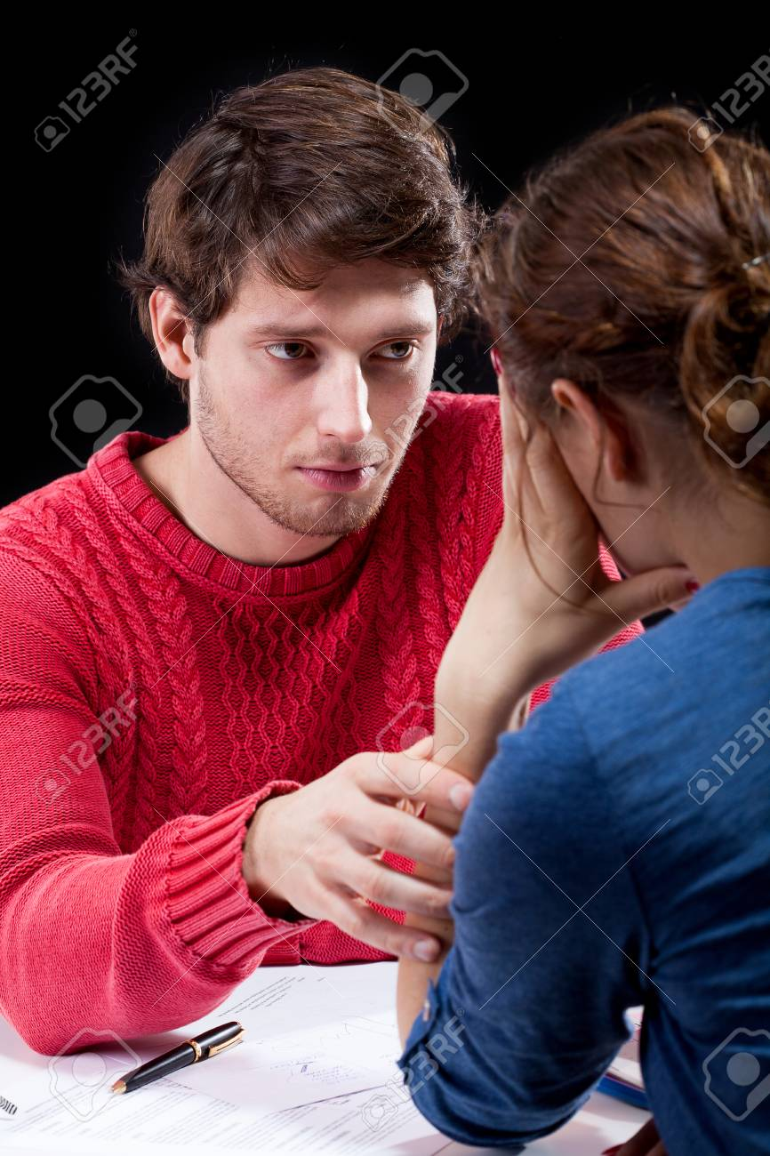 Stressed wife because of financial crisis in family Stock Photo - 25626874