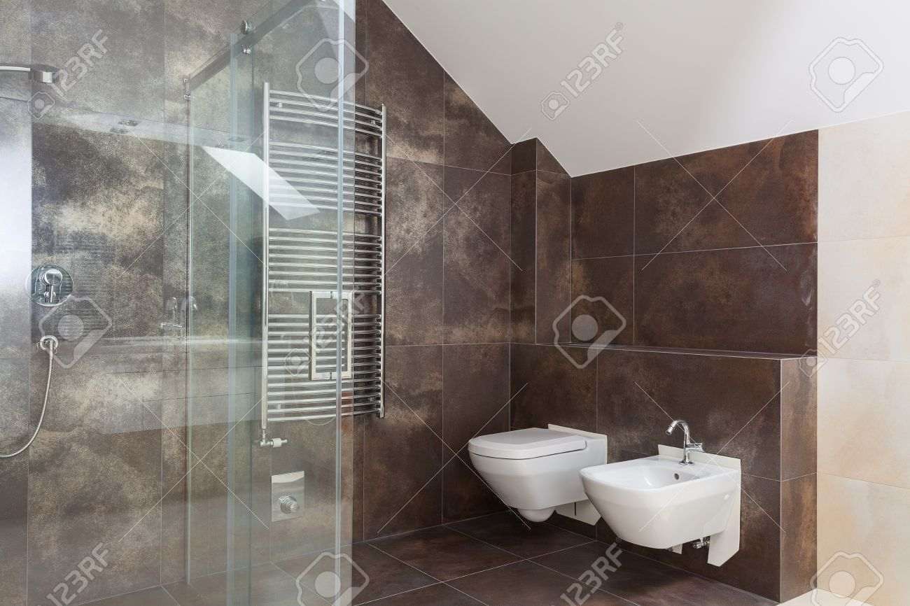 Brown Tiles In Modern Bathroom Interior, Wc And Bidet Stock Photo ...