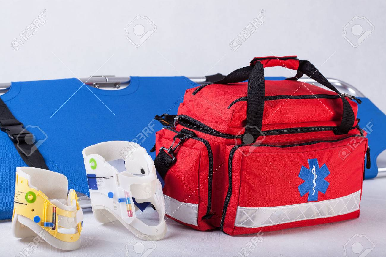 Rescue bag, cervical collars and stretcher on white background - 27667946