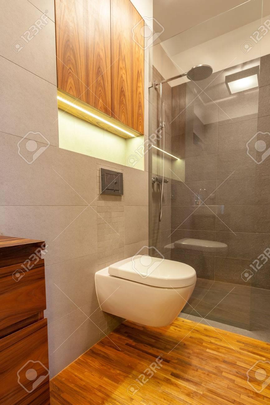 petite toilette avec douche dans salle de bain moderne banque d - Salle De Bain Petite Et Moderne