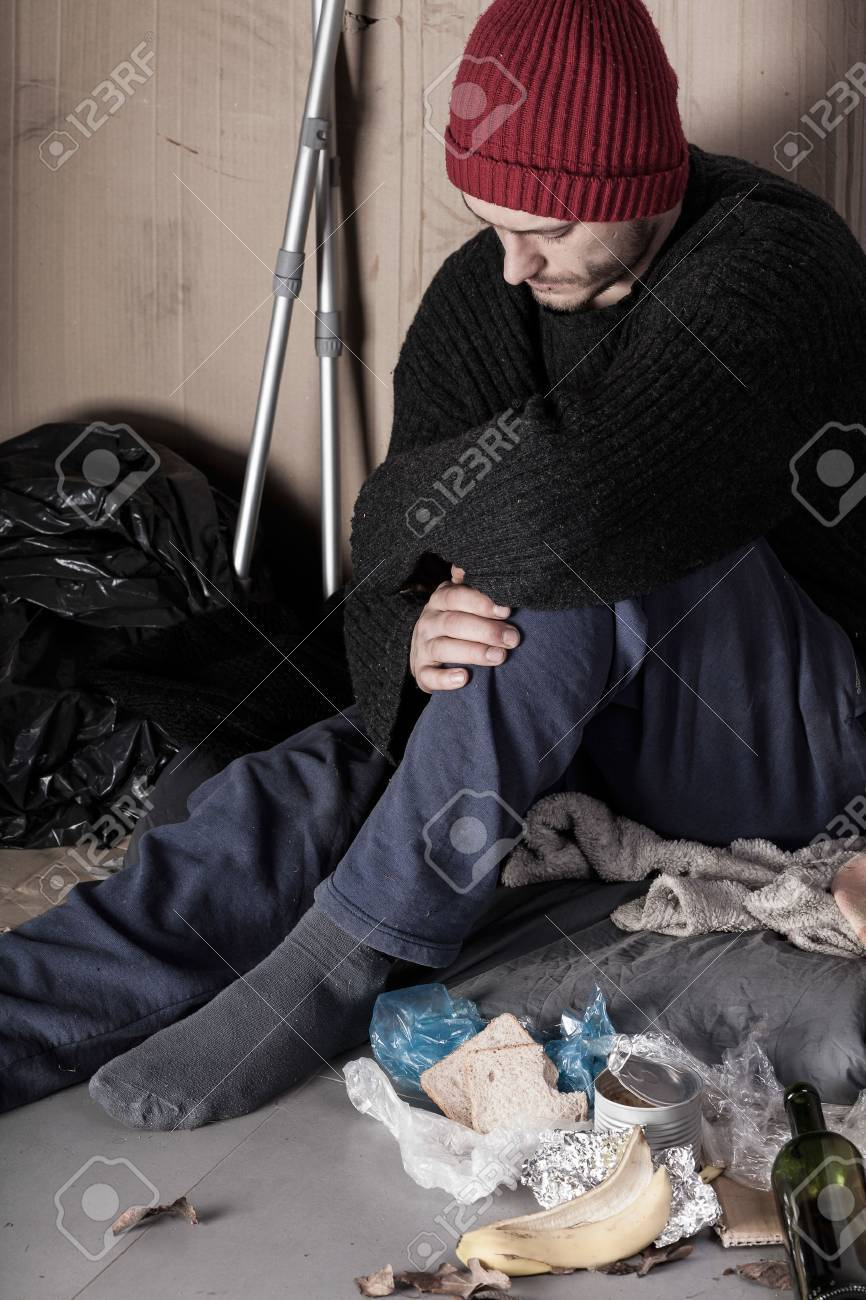 Disabled and poor man living on the street Stock Photo - 29762464