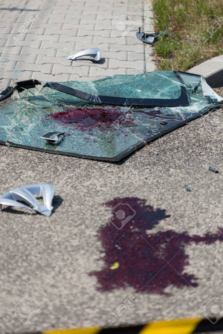 Close Up Of A Blood On The Street After Car Accident Stock Photo