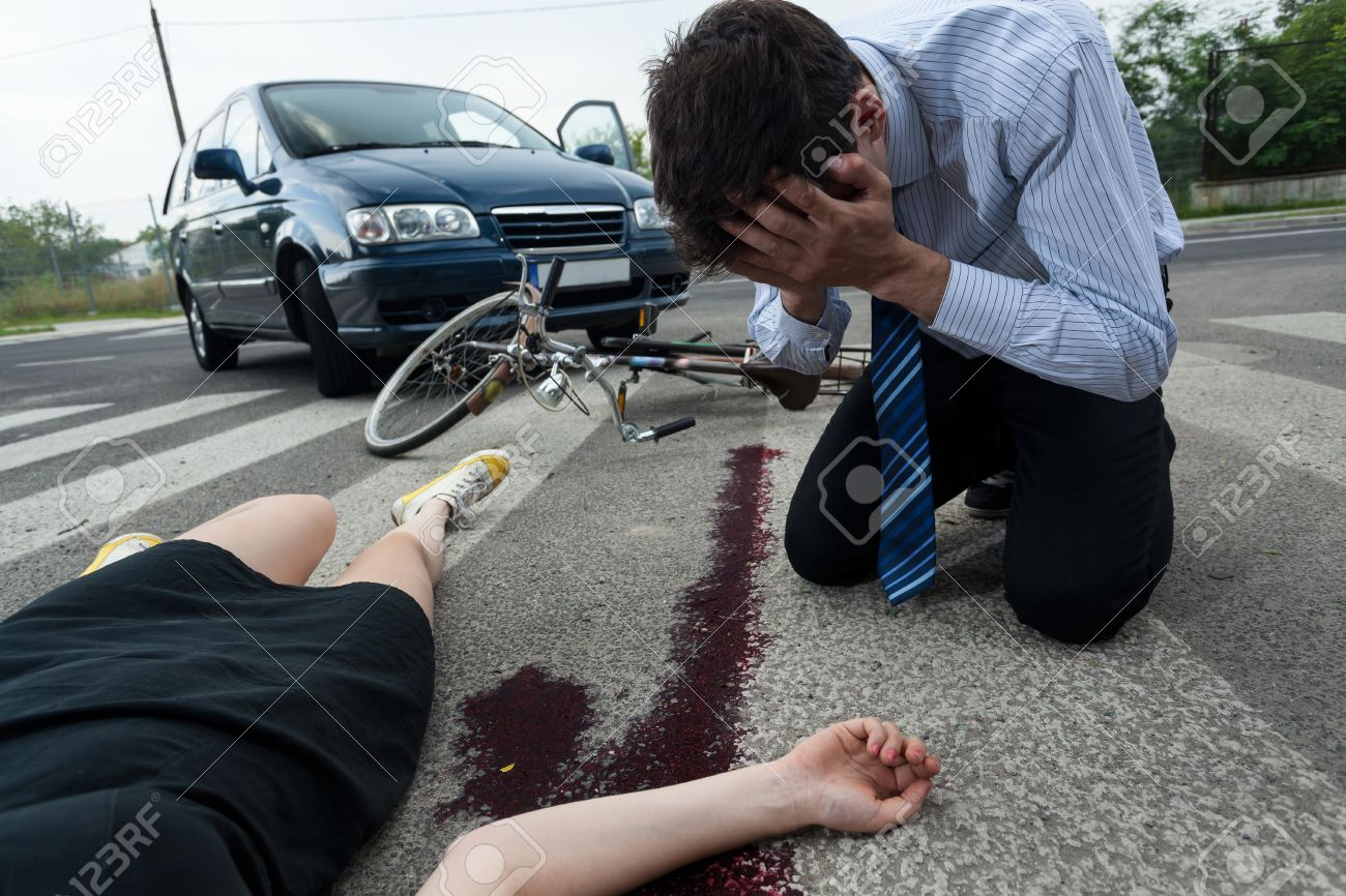 Crying Driver And Injured Woman At Road Accident Scene, Horizontal ...