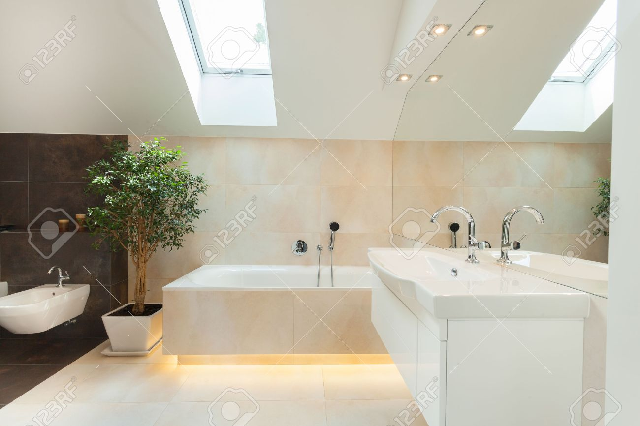 Beautiful modern bathrooms - Beautiful Modern Bathroom With Big Illuminated Bathtube Stock Photo 31479680