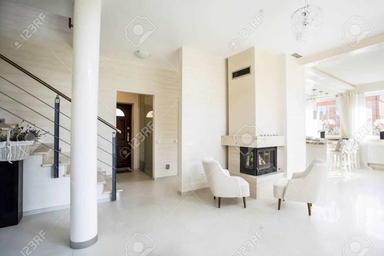 Luxe et salon moderne avec cheminée