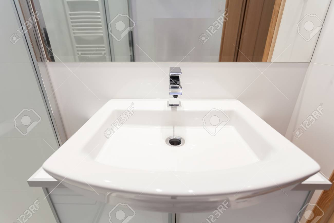 Close Up Of White Modern Sink In Bathroom Stock Photo, Picture And ...