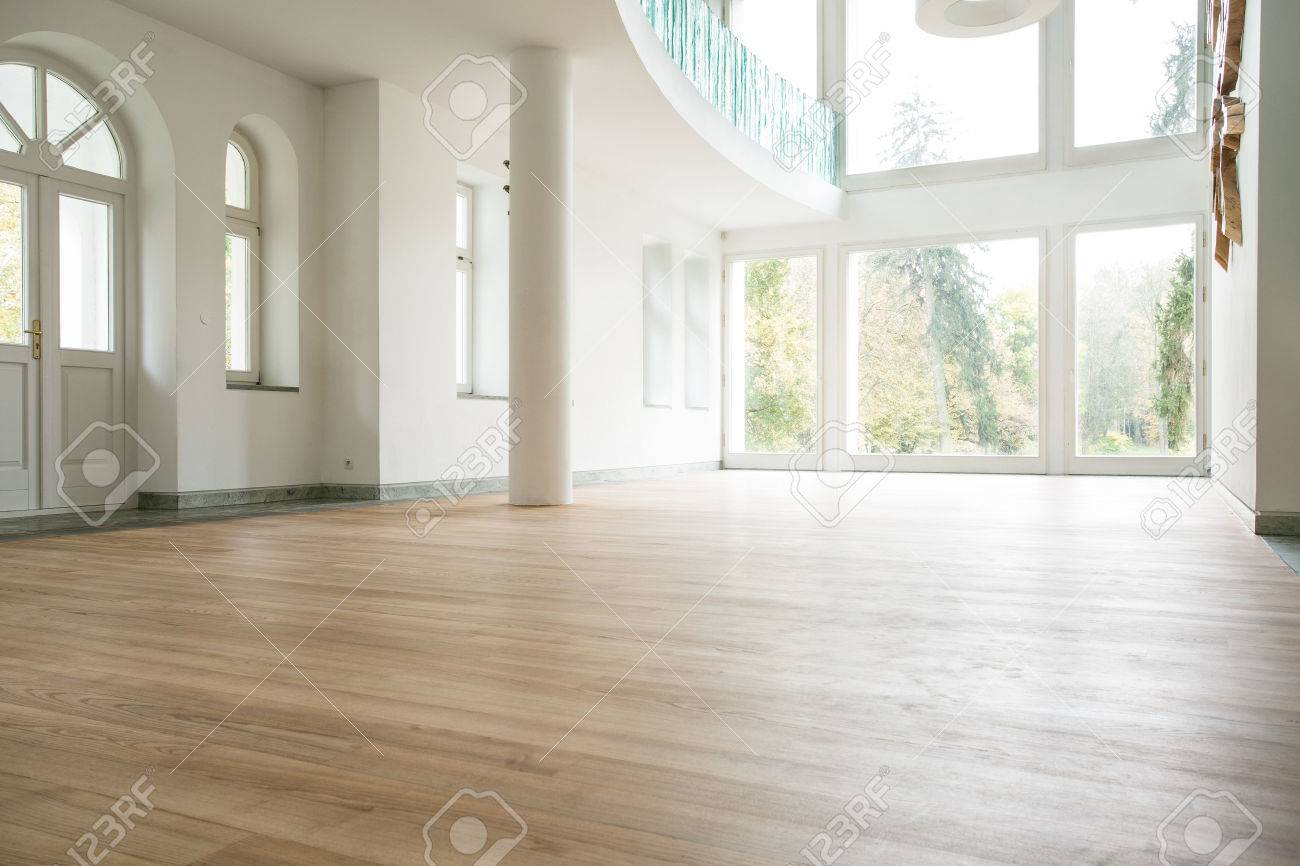 Photo Of Empty Bright Living Room Without Furniture Stock