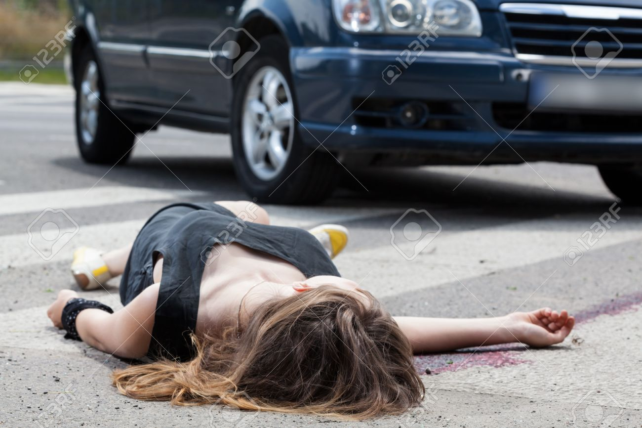 A Dead Woman In Blood After A Car Accident Stock Photo Picture And