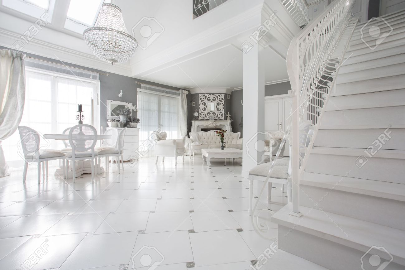 Exclusive White Living Room With Marble Floor Stock Photo, Picture ...