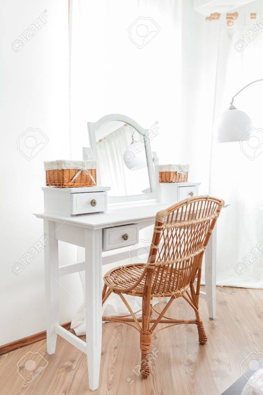 Beauty Vintage Dressing Table With Wicker Chair Stock Photo   33977133