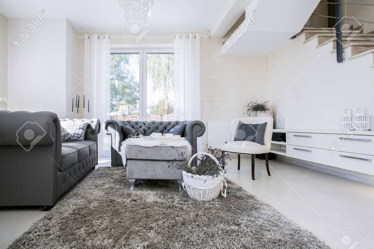 Big White Living Room With Grey Sofas Stock Photo, Picture And ...