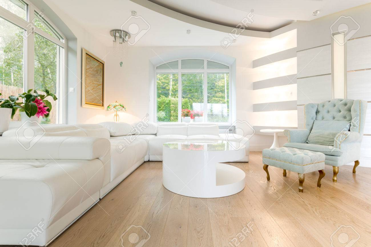 Luxury Bright Spacious Living Room Stock Photo, Picture And Royalty ...