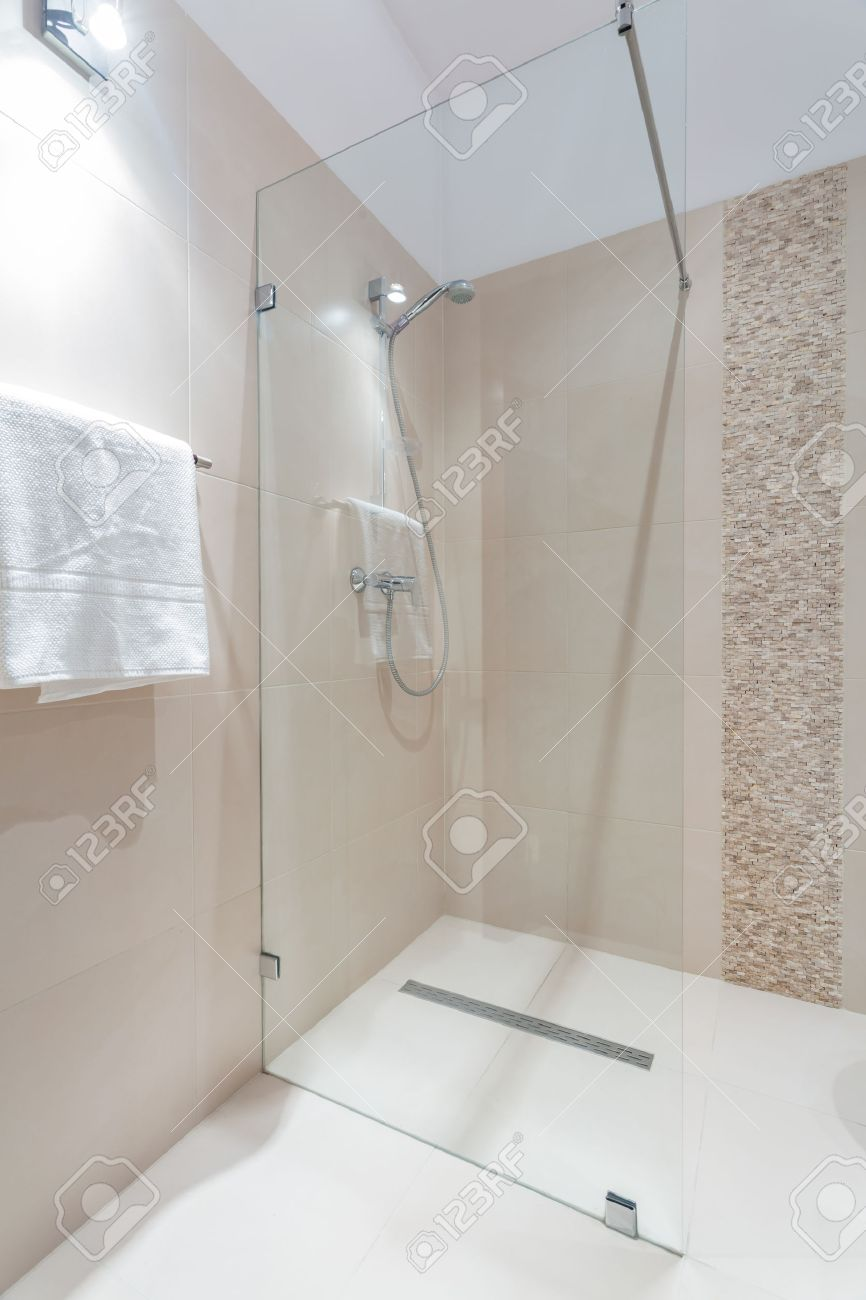 Exclusive Shower With Glass Door In Luxury Bathroom Stock Photo ...