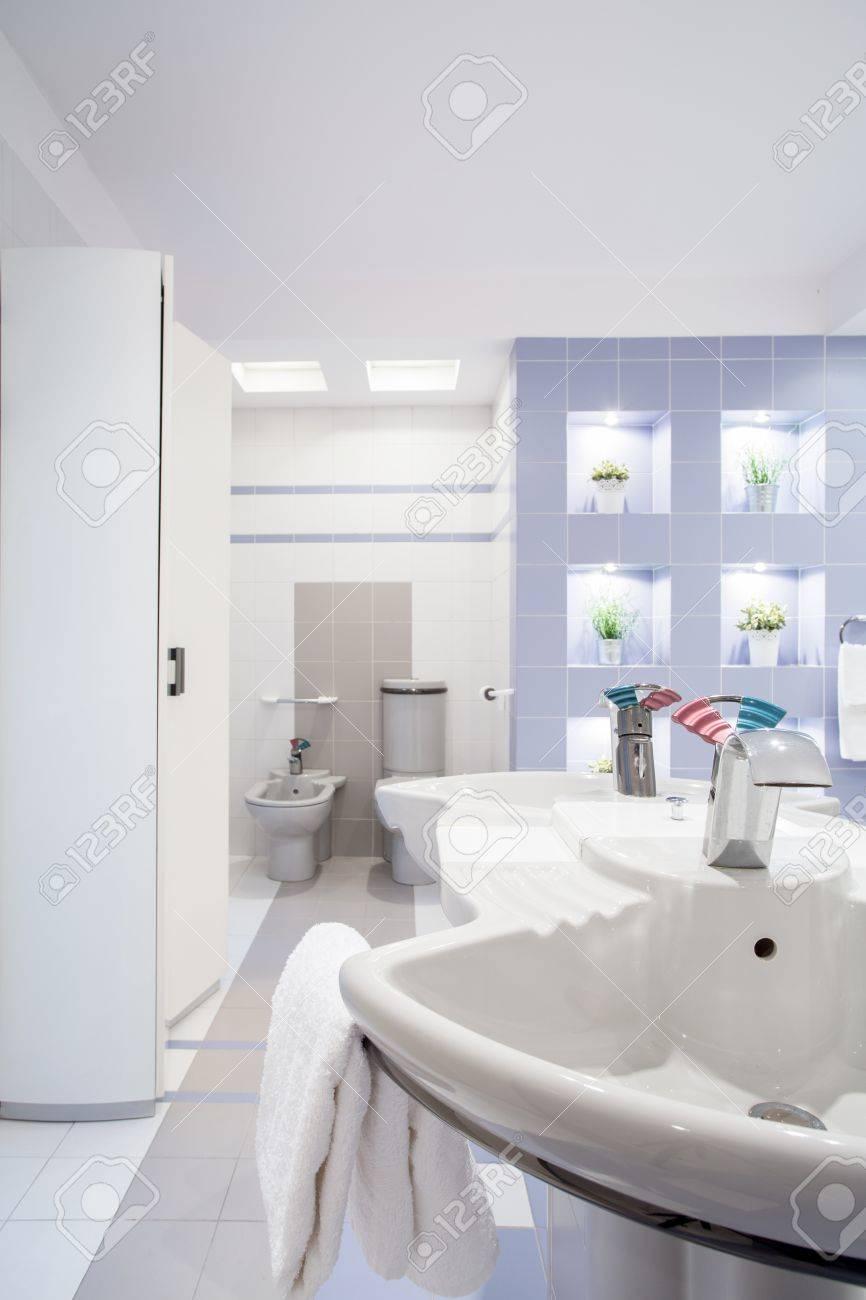 Vue verticale d\'intérieur blanc de salle de bains contemporaine