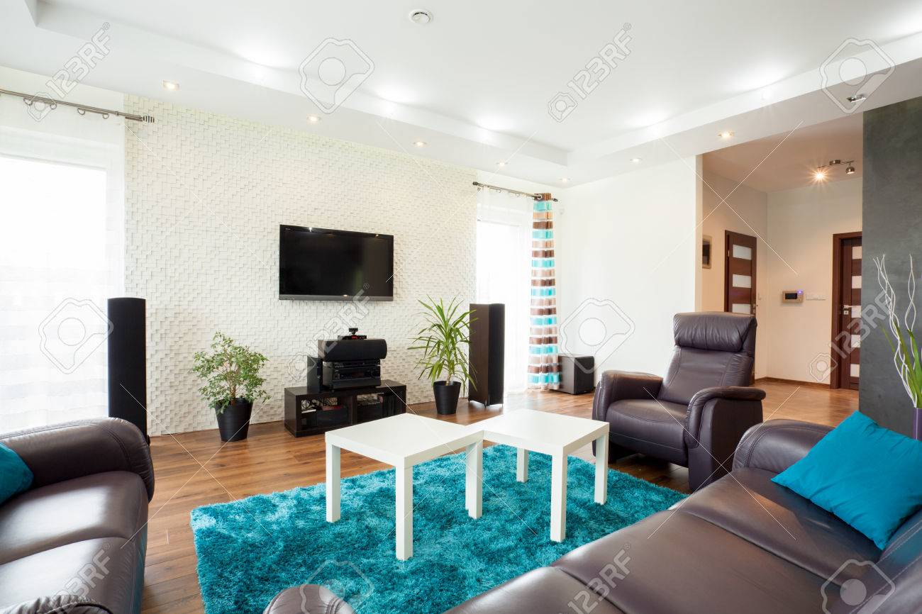 Beautiful Modern Living Room With Big Exclusive Movie Theater Stock ...