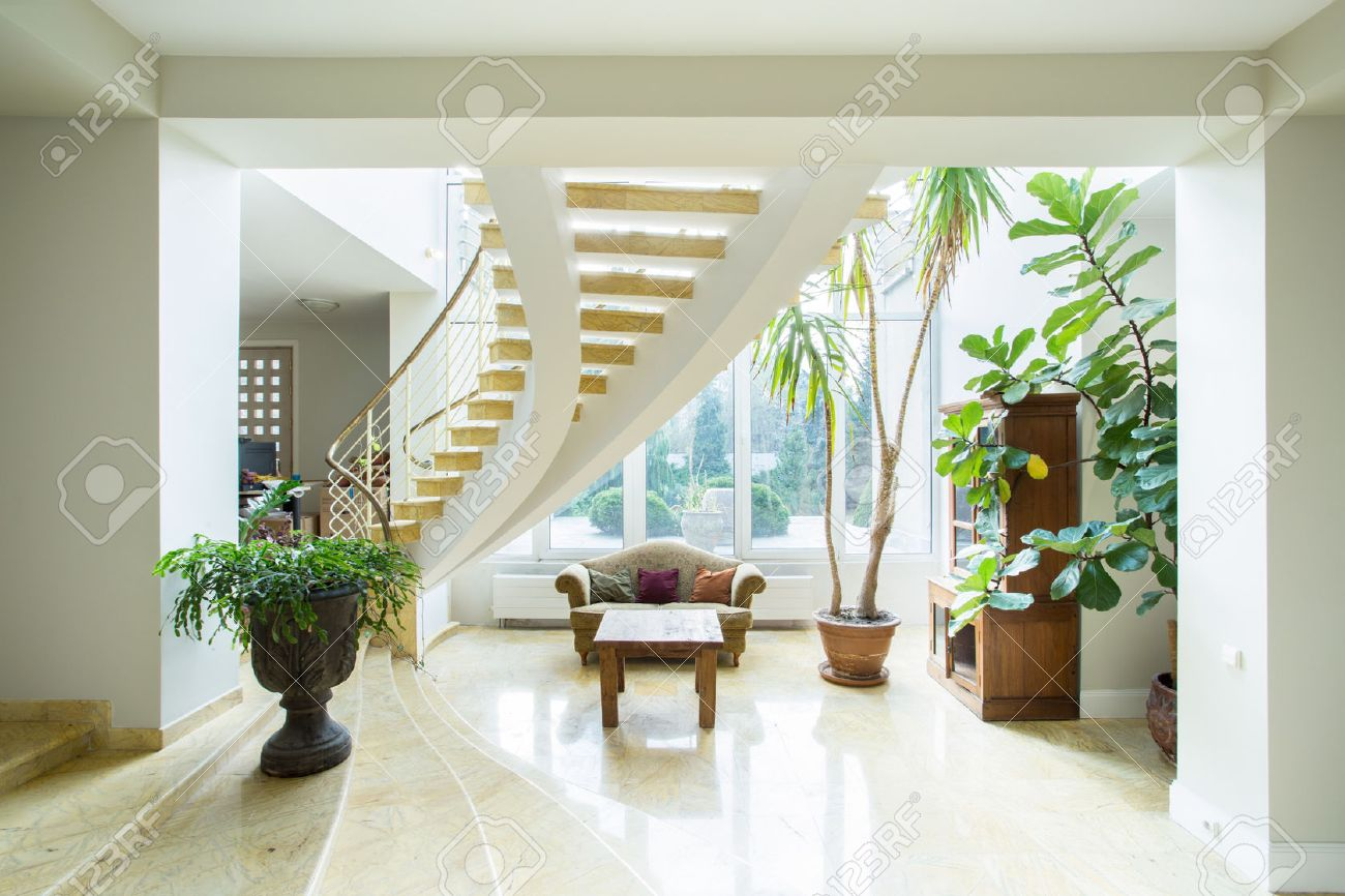 contemporary luxury mansion interior with spiral stairs stock photo 34251904 - Luxury Mansion Interior