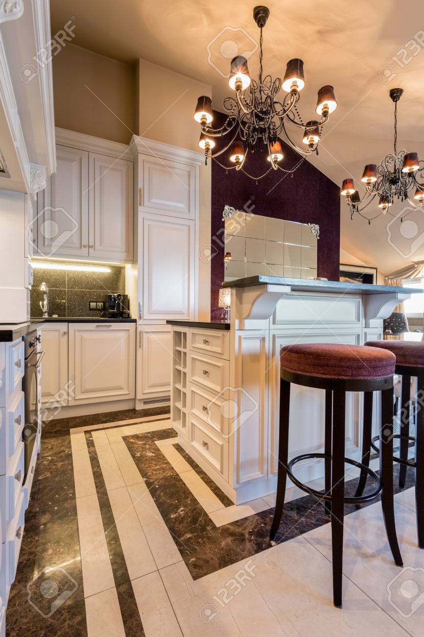 Kitchen In Baroque Style Inside Expensive House Stock Photo
