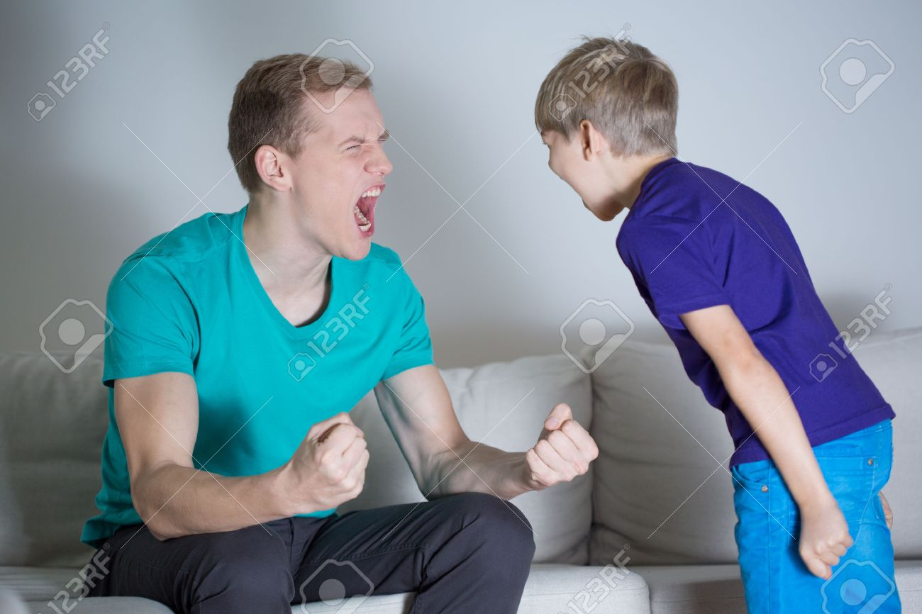 Image of young dad yelling at his son - 35447844