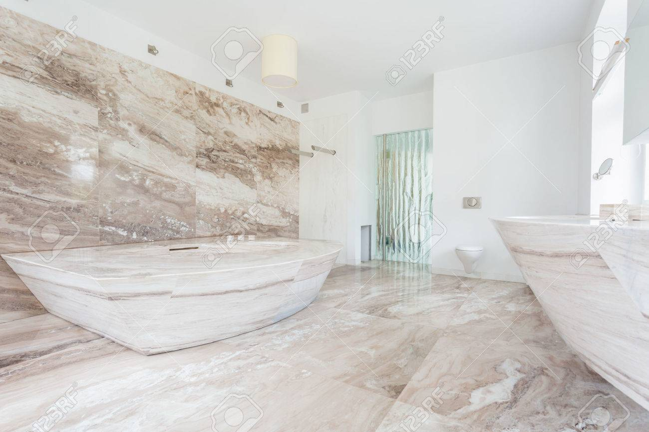 Horizontal View Of Marble Tiles At The Bathroom Stock Photo, Picture ...