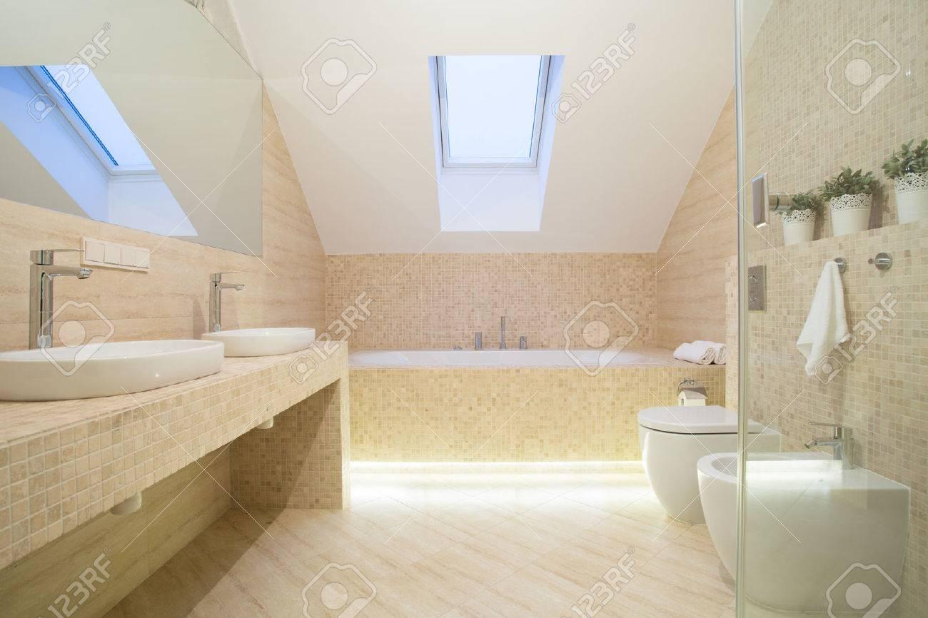 Photo de l\'intérieur de salle de bain de couleur beige