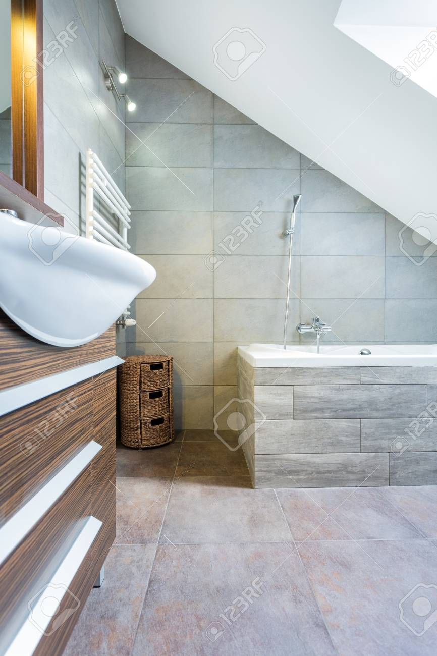 Interior Of Modern And Expensive Bathroom Vertical Stock Photo
