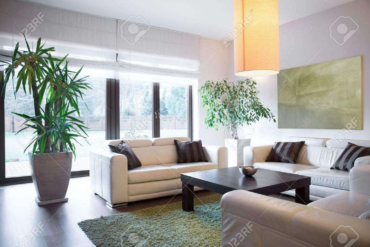 horizontal view of living space inside house stock photo picture