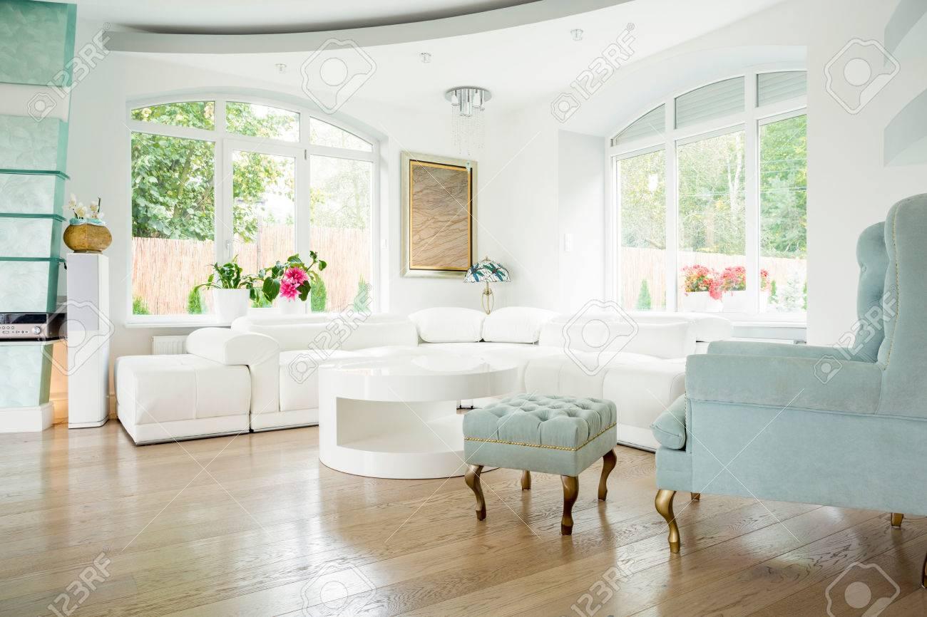Designer Armchair In Luxury Living Room Interior Stock Photo ...
