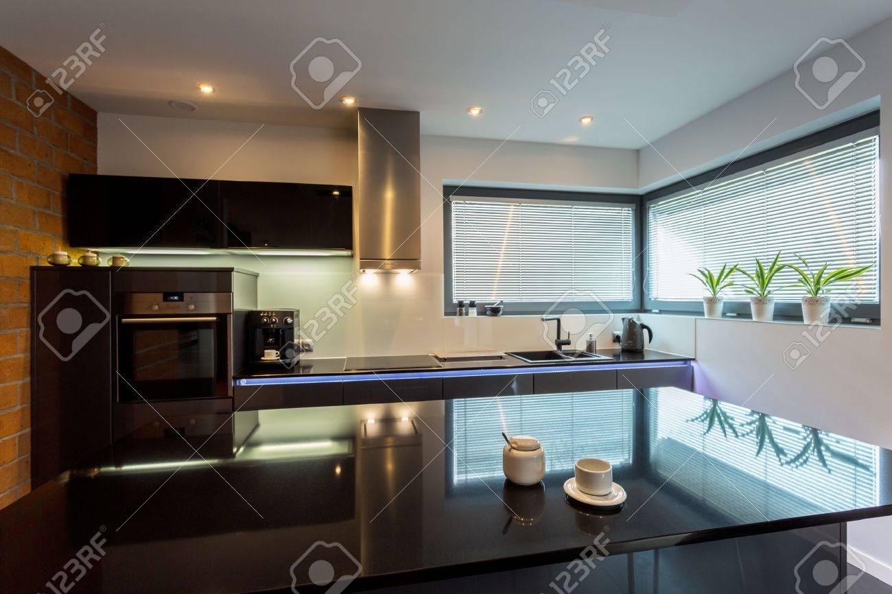 Modern luxury kitchen with marble island