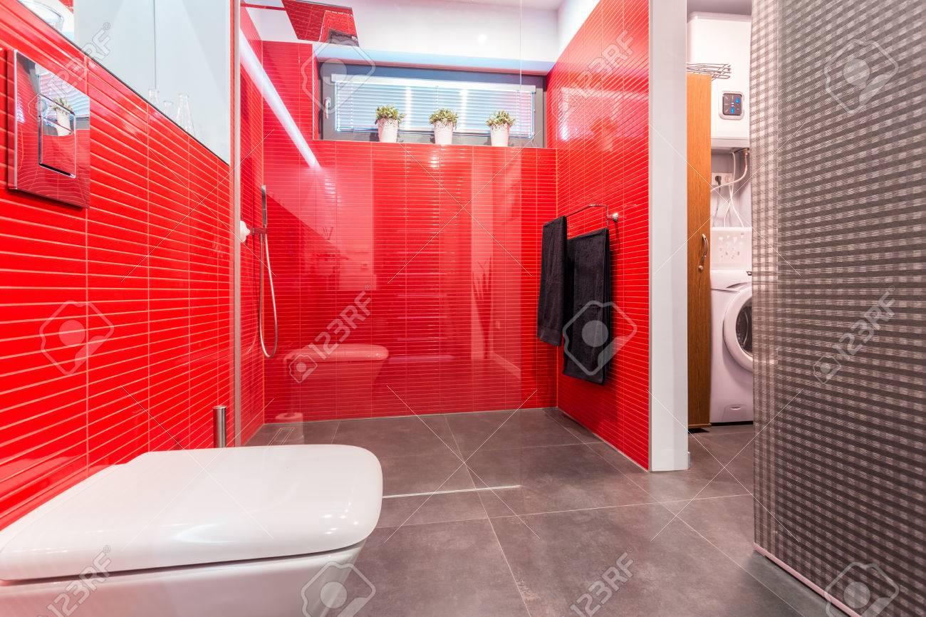 Salle De Bains Moderne Avec Sol En Marbre Et Douche Sur Le Mur ...